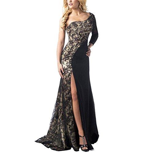 Vestido de Coctel, Sannysis vestidos de fiesta invierno mujer para bodas Vestido de cóctel formal vestido de fiesta de baile de gala largo ropa de mujer en oferta vestidos manga larga (Negro, L)