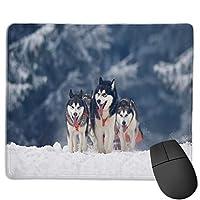 ステッチエッジでカスタマイズされたシベリアンハスキー犬の冬用マウスパッド、ゲーム作業用の滑り止めラバーベース11.8 X9.8インチ/ 25 X 30cm