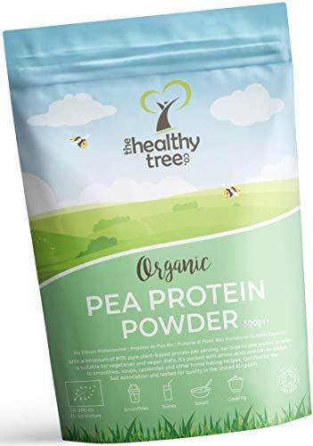 Proteína de Guisante Orgánico en Polvo de TheHealthyTree Company - 80% Europeo + Proteína Vegana, Alta en Aminoácidos, Hierro, Zinc y BCAA (300 g)