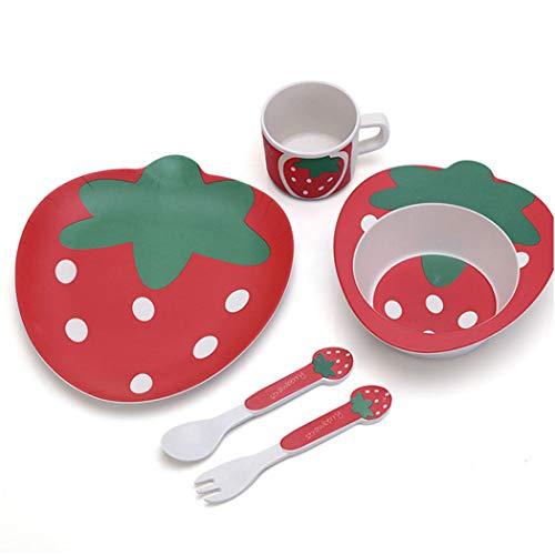 ZT Set vajilla Infantil de bambú sin BPA, 5 Piezas, Servicio de Mesa cubertería para niños Taza de Beber Plato para niños. Ecológico y Biodegradable. (Fresa)