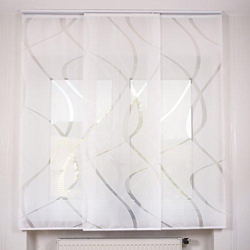3er Set Schiebegardine Flächenvorhang inkl. Zubehör (in versch. Längen) Teresa III, Farbe:weiß, Vorhanglänge:160 cm, Farbe Paneelwagen:Weiß