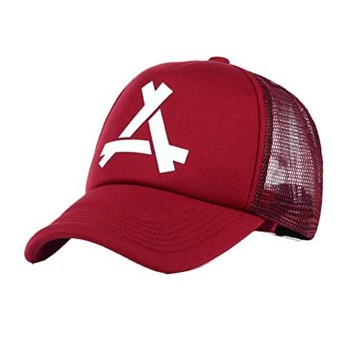 Creamon Sommer Brief eine Baseballmütze Netzoberfläche, Sommer Brief eine Baseballmütze Netzoberfläche Atmungsaktive Hip Hop Hüte Sonnencreme Sonnenhut rot