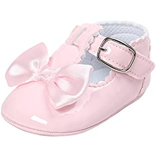 SHOBDW Girls Shoes, Newborn Infant Baby Girls Crib Soft Sole Anti-Slip Sneakers Cute Sweet Bowknot Shoes (6-12 Months, Pink-D):Savelaguasia