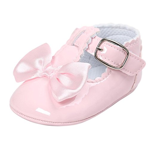 SHOBDW Girls Shoes, Newborn Infant Baby Girls Crib Soft Sole Anti-Slip Sneakers Cute Sweet Bowknot Shoes (0-6 Months, Pink-D)