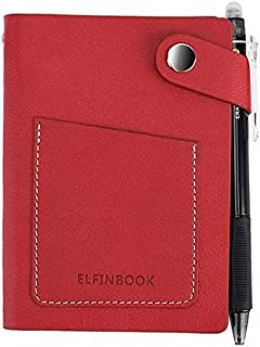 Durable Journal Notebook Elfinbook Mini Smart Reusable Erasable Faux Leather Notebook Paper Notepad Diary Journal Office School Travelers Like Rocketbook Office (Color : Red, Size : 9.5x13cm)