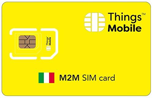 SIM Card M2M ITALIA Things Mobile con copertura globale e rete multi-operatore GSM 2G 3G 4G LTE, senza costi fissi, senza scadenza e tariffe competitive, con 10 € di credito incluso