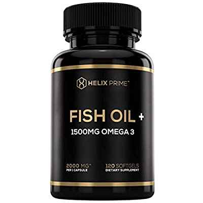 Fish Oil Supplement with 1500mg Omega 3 Including EPA DHA 120 Softgels with Natural Lemon Flavor HELIX PRIME Omega 3 Fish Oil Supplement Supports Heart Health Joints Eyes Brain & Skin Health