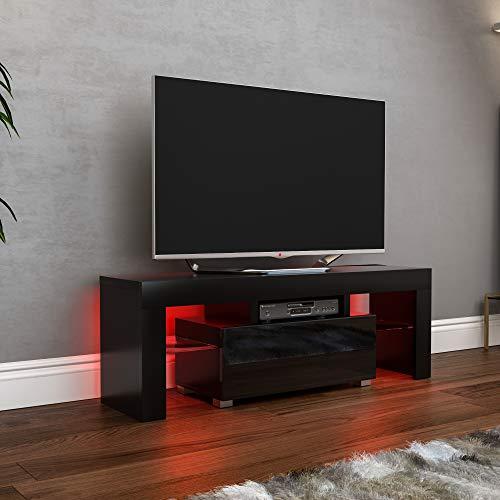 Vida Designs Luna LED TV Unit 1 Drawer Modern Gloss Matte MDF Living Room Cabinet Media Stand Furniture RGB Light Black