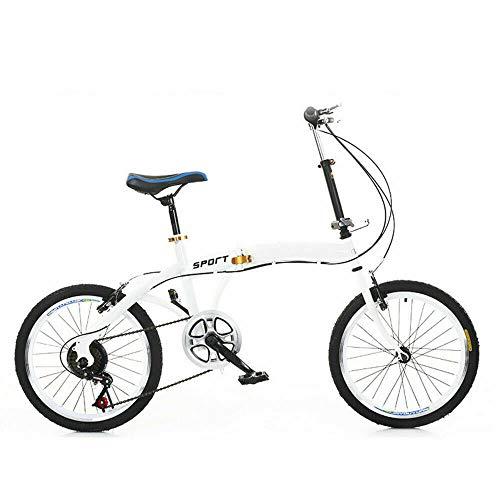 20 Zoll Faltrad Klappfahrrad,Bike Fahrrad 7 Gang Klapprad Faltrad Folding(höhenverstellbare 70-100mm), Weiß