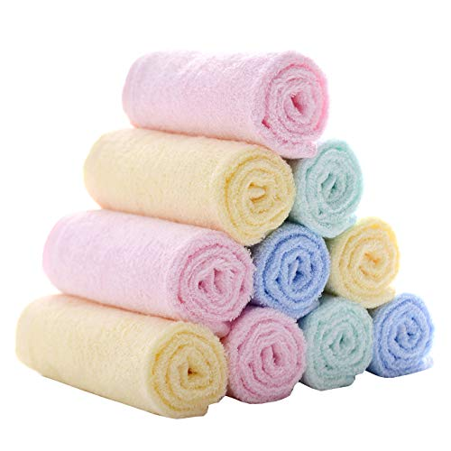 MUKIN Baby Bamboo Washcloths , Baby Face Towels - Extra Soft for Newborn/Infant/Kids/Adults - Ultra Soft for Baby Registry as Shower Gift Set,12x12inch. (12 Pack.)