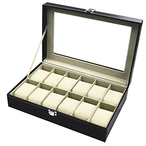 TECHVIDA Relojes Caja de Reloj con 12 Compartimentos para Joyería Caja Organizador Oficina Escritorio Armario Negro Caja de Reloj de Piel PU con Terciopelo Suave Regalo para...