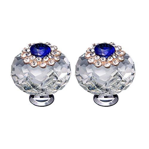 OneCreation 2 Stück 40 mm Kristallknauf Modern Möbelgriff Kleiderschrank Tür Dusche Glas Schublade Griff Diamant Perle Griff (blau)