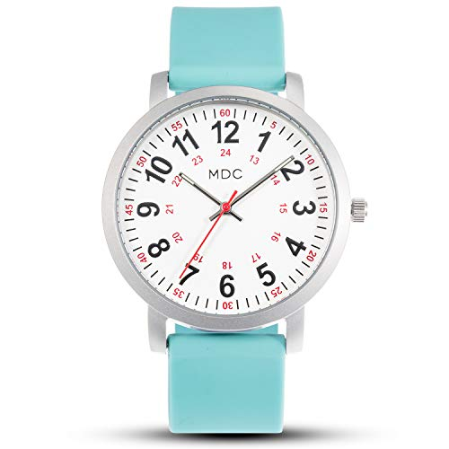 Nurses Watches for Women Nursing Watch with Second Hand Waterproof Work Wrist Watches for Womens with Teal Silicone Strap by MDC