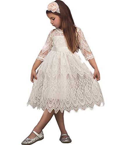 TTYAOVO Mädchen Spitze Gestickte Prinzessin Partykleid Blumenmädchen Hochzeitskleid 5-6 Jahre Weiß (130 - Herstellergrosse)