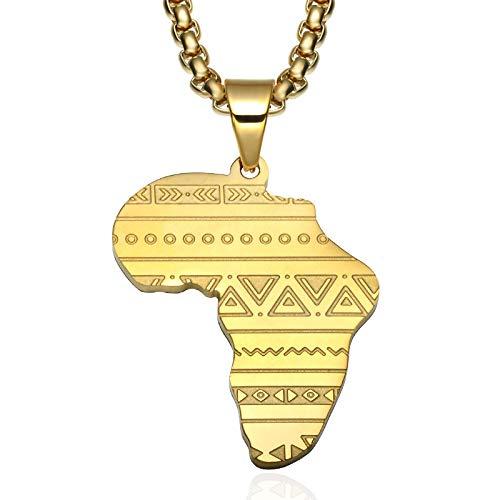 Collar colgante de acero inoxidable con diseño de mapa de África dorado y símbolo misterioso de Egipto antiguo
