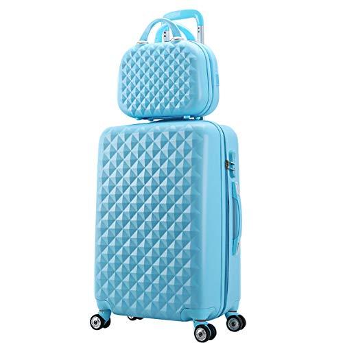 HRUIIOIH Koffer-Set, Diamond Grain Koffer Zipper Boarding Universal-Radschlösser Große Kapazität Multifunktionskoffer Kosmetikkoffer 20 Zoll + 14 Zoll,Blue,34 * 24 * 55cm