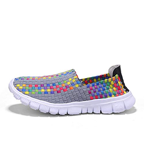 Zapatos de Mujer Gimnasia Trenzada Zapatillas de Deporte Hechas a Mano Ligero Comodidad Caminar Elástico Mocasines Transpirables de Moda Elásticos