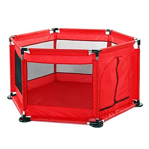 FLZXSQC Valla De Juegos para Niños, Cama De Juegos Grande para Niños con 30 Bolas De Pit, Valla De Protección Infantil Elevada (Rojo)