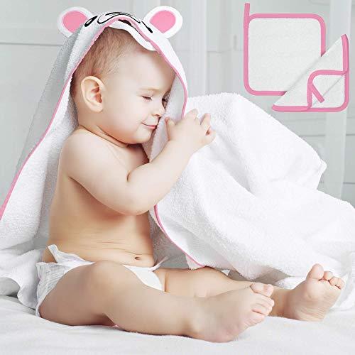 Beartop - Toalla con capucha para bebés y niños pequeños, incluye manopla de baño, 90 x 90 cm, de bambú, extracálida, absorbente, con capucha