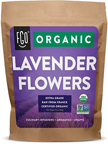 Organic Lavender Flowers Dried | Perfect for Tea, Baking, Lemonade, DIY Beauty, Sachets & Fresh Fragrance | 100% Raw From France | Jumbo 16oz Resealable Kraft Bag | by FGO