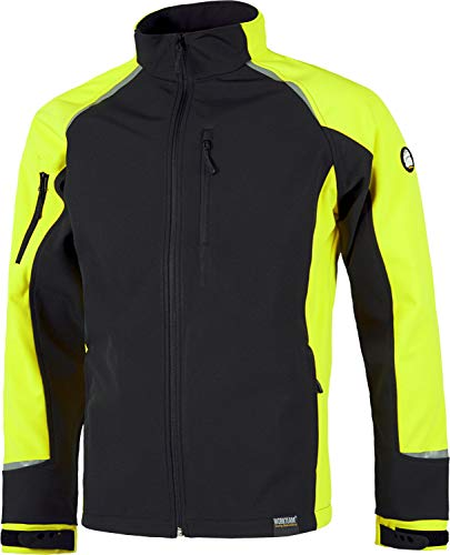 Work Team Chaqueta Softshell Bicolor Resistente al desgarro con Membrana Interior Transpirable. Hombre Negro+Amarillo A.V. L