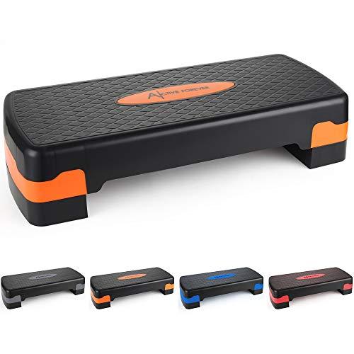 ActiveForever Stepper aerobico di Allenamento Regolabile nella Piattaforma per Esercizi e Fitness Step Trainer Stepper con Riser Regolazione 10 cm / 15 cm (Arancio Nero)