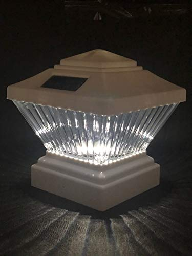 6 Pack Solar Post Deck Cap Fence LED Light Black/White for 4x4 inches PVC Post (White)