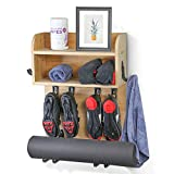Multi-functional Home Gym Wall Mount Rack Shelf Organizer for Towel, Yoga Mat, Exercising Bike Shoes, Exercise Bands and So on - Ideal Accessories for Peloton, NordicTrack, and Echelon