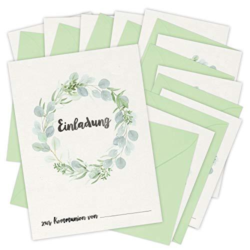 Einladungskarten zur Kommunion | 10 Karten mit 10 Umschlägen | zum Ausfüllen und Beschriften für Mädchen und Jungen | DIN A6 Einladung zur Erstkommunion Eukalyptus