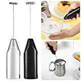 Handheld Milk Frother, Portable Coffee Maker, Mini Egg Beater, Battery Operated Electric Mixers Hand Blenders, Machine Foam Coffee Maker for Latte Cappuccino Milk Foamer 304 Stainless Steel Whisk, Black, 1 Pack (Black)