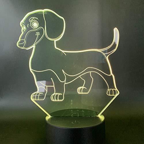 Led-nachtlampje, 3D-vision-zeven, kleuren-afstandsbediening, klein nachtlampje, hond, kind, dier, nachtlampje, kindergeschenk, kinderkamer, nachtlampje, verkleuringslicht, hond jongens, nachtlampje voor slaapkamer