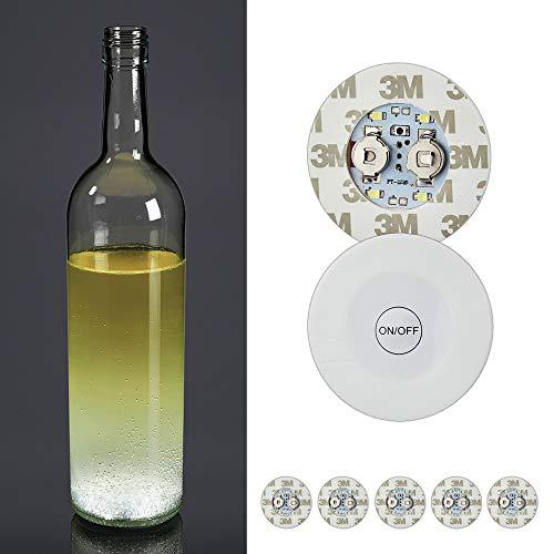 6er Set LED Sticker selbstklebende Leuchtsticker Leuchtkleber 4x SMD LED inkl. Batterien und hochwertiger 3M Klebefolie