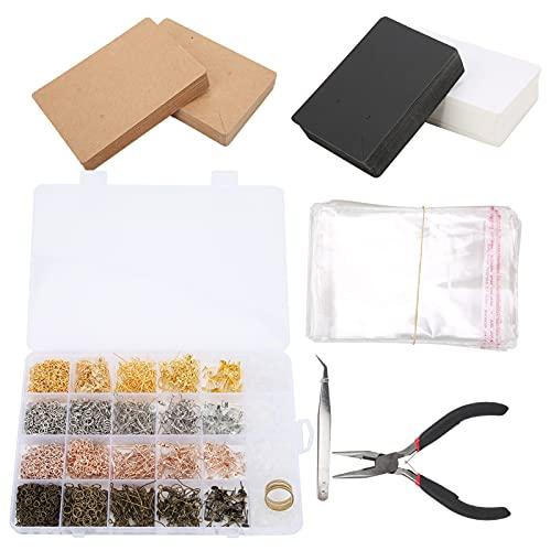 Semiter Kit de fabricación de Orejas de Bricolaje, alfileres de Pendientes 3663 Piezas Accesorios de Orejas de Bricolaje para Amigos para el hogar