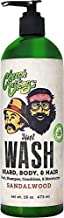 Cheech and Chong WASH 3-in-1 Body Wash, Beard & Hair Shampoo & Conditioner In One (16 oz) Made With Hemp Seed Oil to Cleanse and Condition your Beard, Hair and Body. Lightly Sandalwood Scented