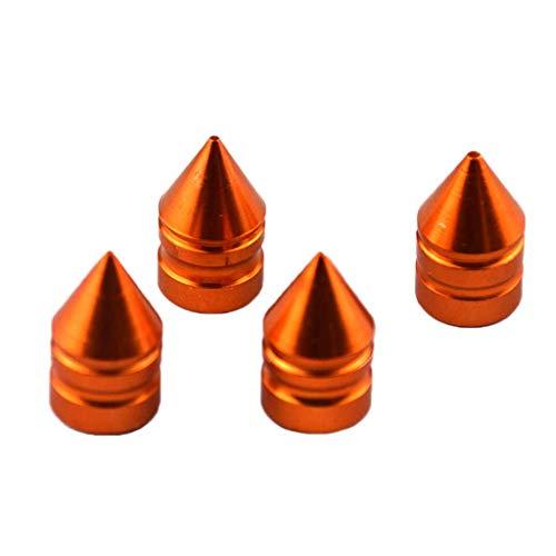 ViewSys Aluminio Vástago de válvula del neumático Caps, Metal, a prueba de polvo cubierta universal de ajuste for autos, camionetas, bicicletas y bicicletas, camiones, motocicletas (4PACK) Naranja Con