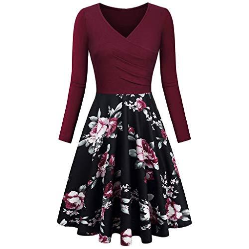 iHENGH Damen Frühling Sommer Rock Bequem Lässig Mode Kleider Frauen Röcke Vintage Langarm v-Ausschnitt Druck Abendgesellschaft Prom schaukel Dress