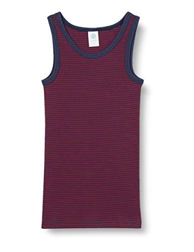 Sanetta Jungen Nordic Blue Gefälliges Unterhemd im blauroten Ringel-Look umweltfreundlicher Bio Baumwolle, blau, 104