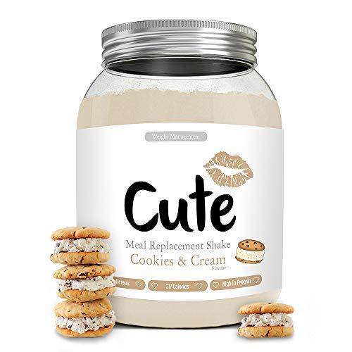 Cute Nutrition Batido Sustitutivo de Comida Sabor Galletas y Crema para el Control de la Pérdida de Peso en Polvo Bebida Dietética para Mujer Bote de 500 g