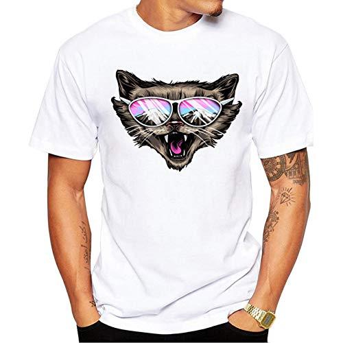 GJCDGPZTX Camiseta El Último Diseño De Impresión Popular Cool Cat Mountain Peak T-Shirt Cool Men Summer Shirt Marca De Moda Camisa Funny Cat tee Tops