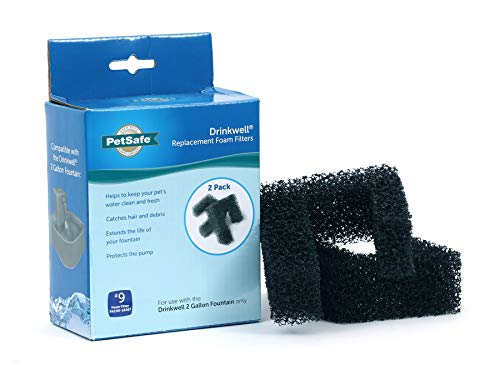 PetSafe Drinkwell Replacement Foam Filter, 2-Pack, Compatible with 2 Gallon Dog and Cat Water Fountain
