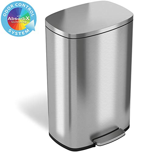 iTouchless SoftStep 13.2 Gallon Stainless Steel Step Trash...