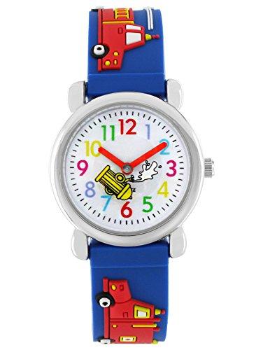 Pacific Time Kinder-Armbanduhr Auto Feuerwehr Cars Jungen Analog Quarz blau 20018