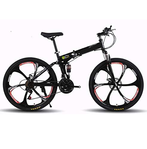LYzpf MTB Mountainbike Faltbares Fahrrad 26 Zoll 21 Geschwindigkeiten Legierung Stärkerer Scheibenbremse Stadler Bike Für Erwachsene Mann Frau Student,Black,24inch-21S