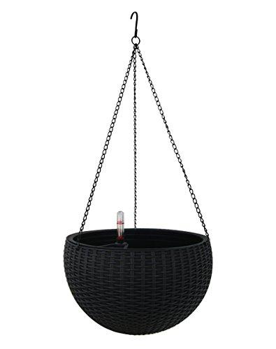 TABOR TOOLS Self-Watering Hanging Planter for Indoor-Outdoor. Wicker-Design, 10 Inch Diameter Plastic Weave Basket with Water Level Indicator Gauge. TB709A. (Black)