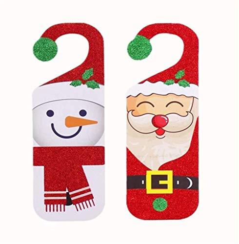 Fjofhgf 2pcs Puerta De La Navidad Firma Santa Claus Muñeco De Nieve Puerta del Botón Perchas For La Barra Casera Decoración del Hotel Y Señal