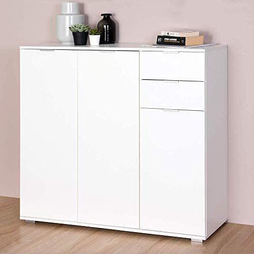 Einstellbares High-Regal, Aluminium-Erscheinungsbild stabile Fußhochkabinett-Seitenschrankschublade, einstellbares Höhenregal,White