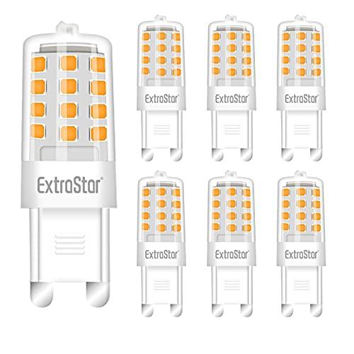 ExtraStar 6er Pack 3W G9 Dimmbar LED Lampe, 300 Lumen 3000K Warmweiß Kühlschranklampe,Kein Flackern LED Leuchtmittel Ersatz 24W G9 Halogenlampe,360° Abstrahlwinkel