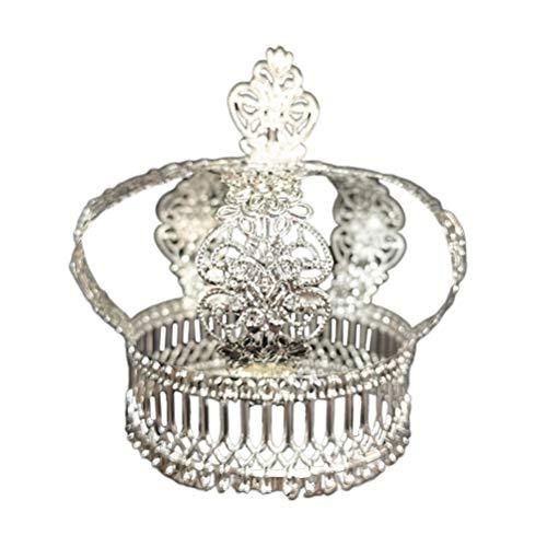 YARNOW Gâteau de Couronne Vintage Couronne de Diadème de Couronne D'argent pour Mariage Anniversaire Bébé Douche Reine Princesse Décoration de Gâteau de Fête (Argent)