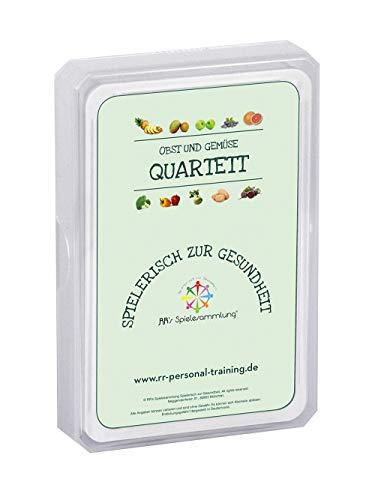 RR's Spielesammlung Spielerisch zur Gesundheit - Obst & Gemüse Quartett Kartenspiel, EIN Lernspiel und Wissensspiel für Kinder Jugendliche Erwachsene, Trumpf Spiel für Schule & Familie (Deutsch)