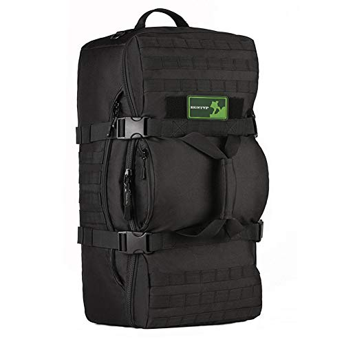 Huntvp 60L Tactical Military Molle Backpack Gear Outdoor Sport Assault Pack Rucksack Shoulder Tote Duffel Range Bag For Hunting Camping Trekking Travel (Black)